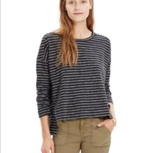 Madewell Black Striped High Low Sweater